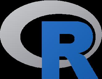 displayed r language logo